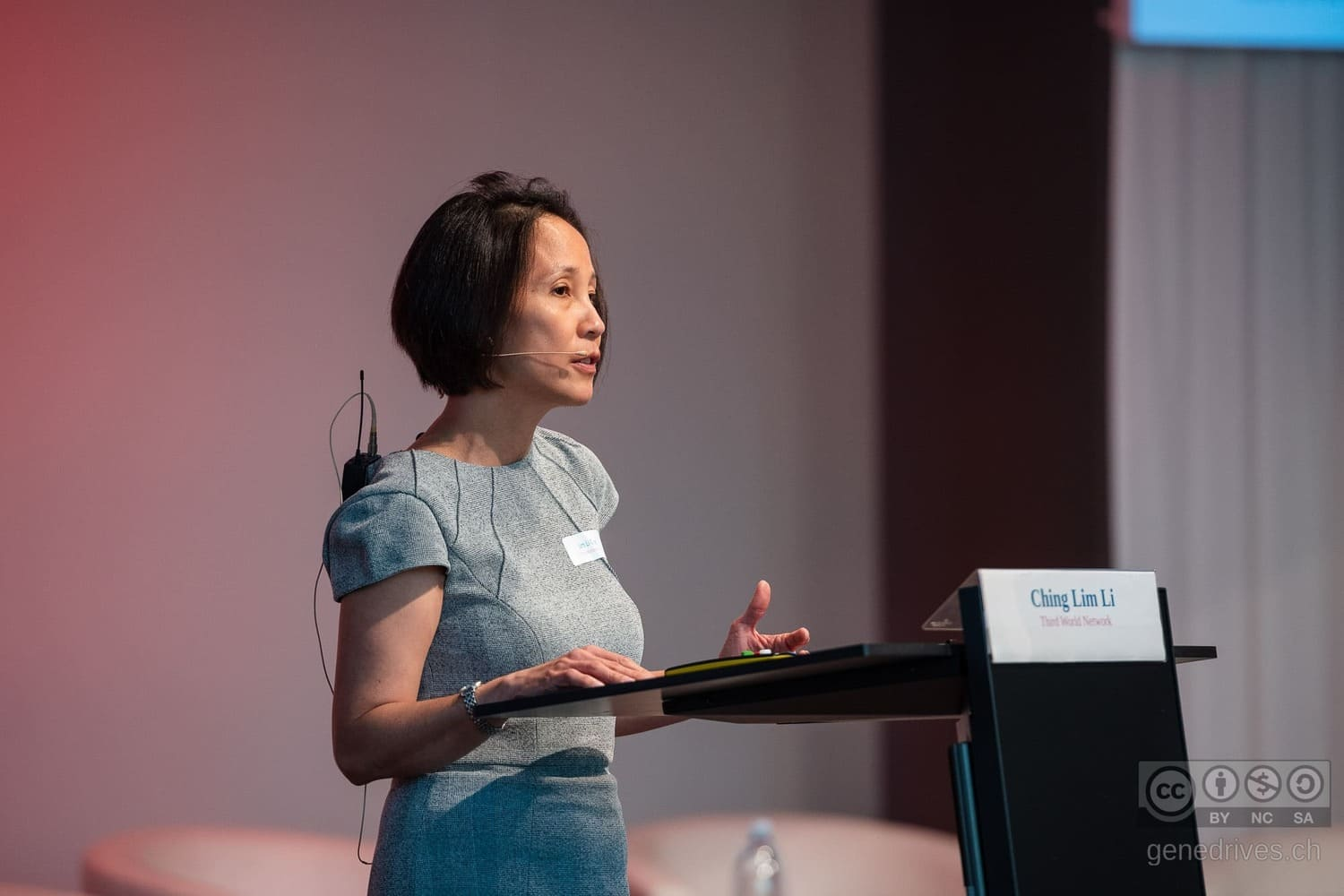 Lim Li Ching speaks at the GeneDrive Symposium 2019.